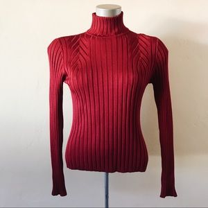 Classiques Entier Red Silk Blend Turtleneck M